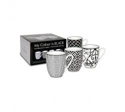 Zestaw-4-kubków-porcelanowych-Mój-kolor-to-czarny-Konitz